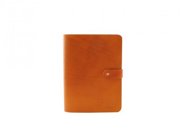 Nr. 022-C Leder Notizblock Hülle Groß, Cognac