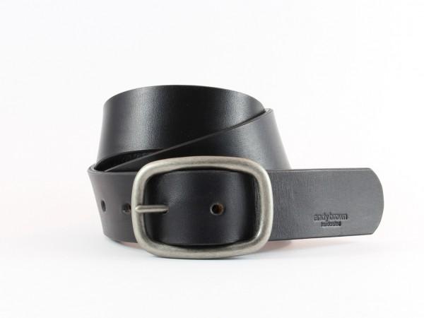 Nr. 010-S Ledergürtel mit Doppelschnalle, Schwarz