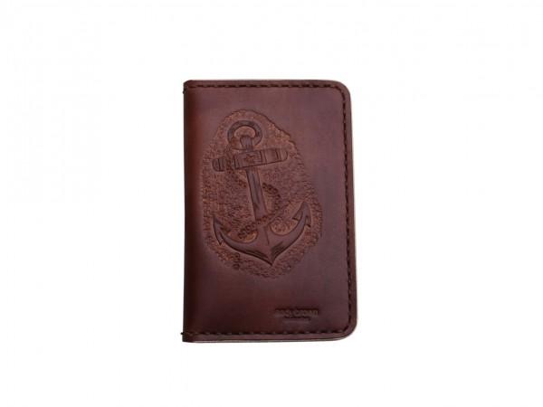 Nr. 041-DBA Leder Portemonnaie Groß, Anker, Dunkelbraun