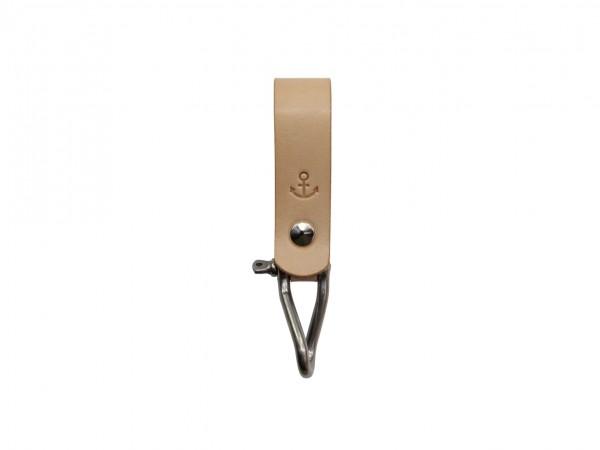 Nr. 053-N Leder Schlüsselanhänger mit Ankermotiv, Natur