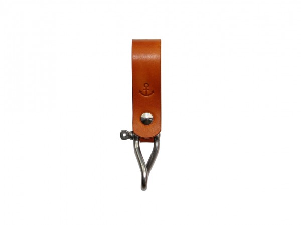 Nr. 053-C Leder Schlüsselanhänger mit Ankermotiv, Cognac