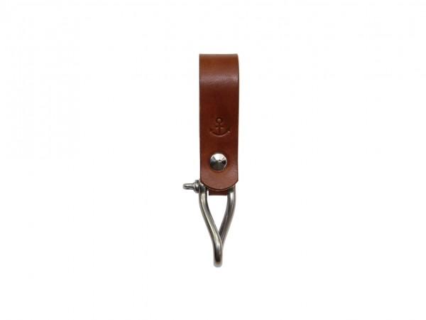 Nr. 053-DB Leder Schlüsselanhänger mit Ankermotiv, Dunkelbraun