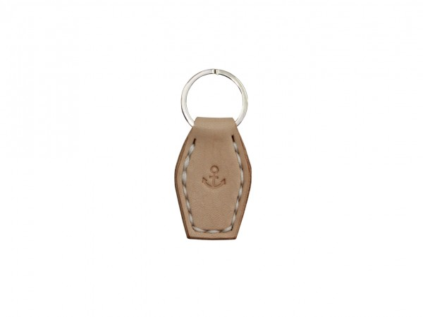 Nr. 055-N Leder Schlüsselanhänger mit Anker, Natur